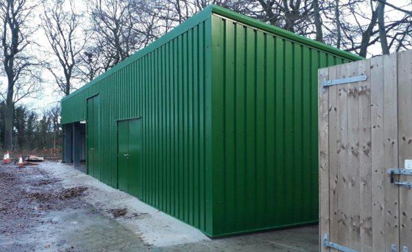 Ground maintenance steel storage building