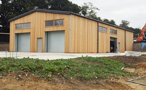 Timber Clad Steel Building with Mezzanine Floor